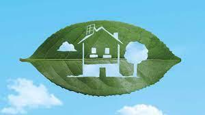 foglia verde intagliata con immagine di casa