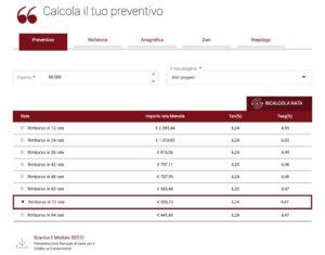 scelta piano di rimborso simulazione prestito sito bcc