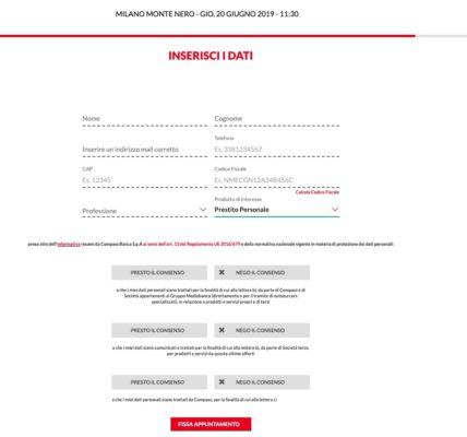 inserire dati personali appuntamento filiale compass