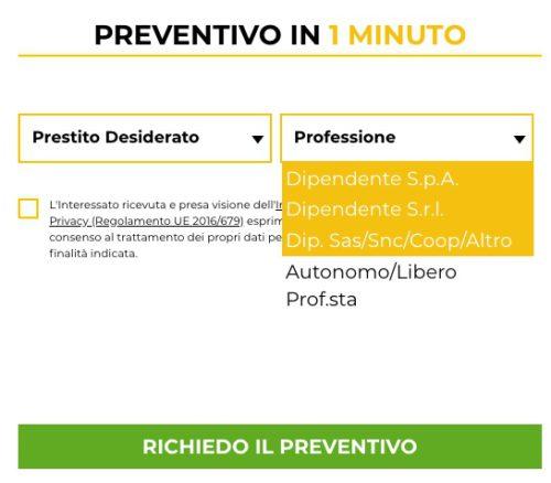esempio selezione lavoro per preventivo directafin