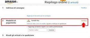 schermata di amazon dove scegliere le modalità di pagamento