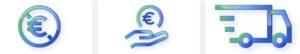 simbolo pagamento in euro, trasporto gratuito, euro