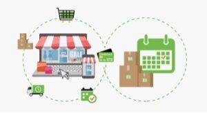 disegno di negozio stilizzato ecommerce e di carrello virtuale per acquisto